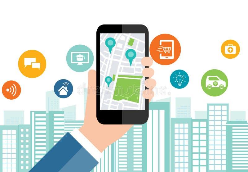 Digitale zaken en sociale slimme stadsverbinding op mobiel royalty-vrije illustratie
