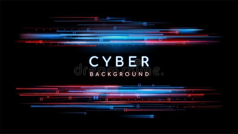 Digitaler futuristischer Hintergrund Sci FI Vektortechnologieillustration Neonlichtzeichen mit mit den Neonlinien, geometrisch lizenzfreie abbildung