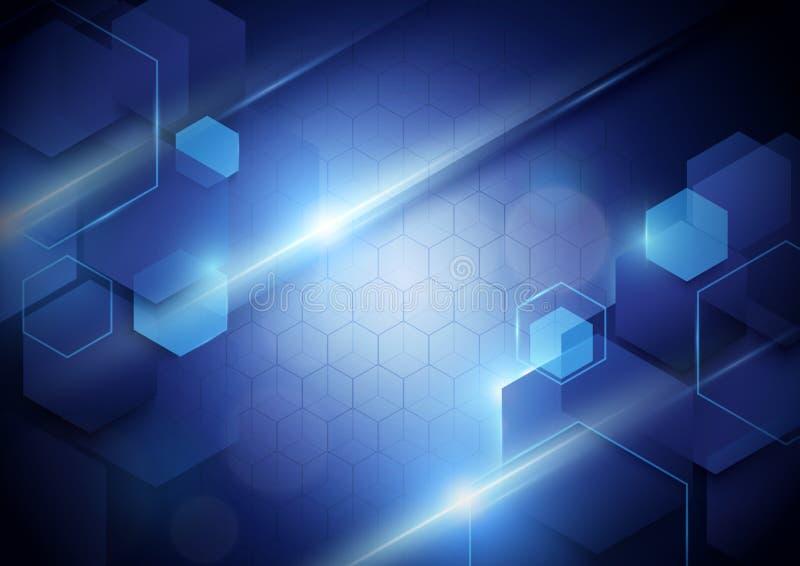 Digitaler High-Techer Konzepthintergrund der blauen abstrakten Technologie vektor abbildung