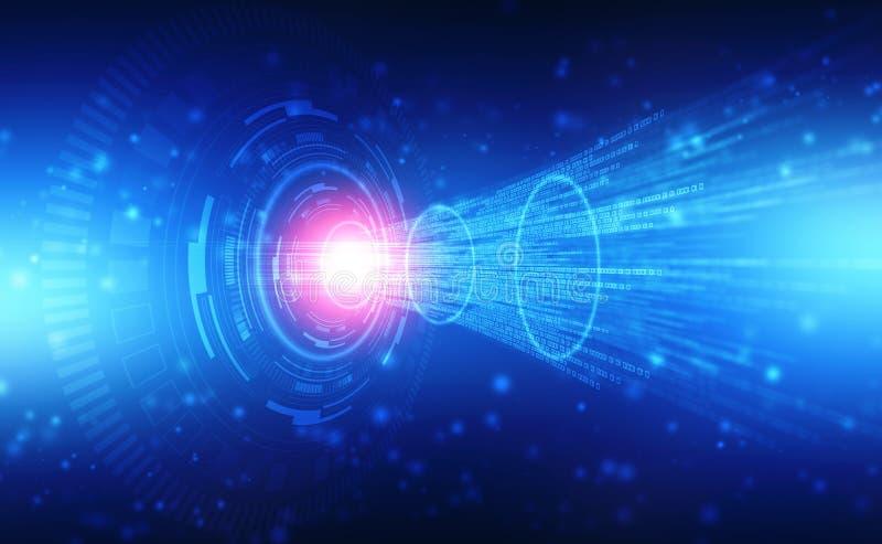 Digitaler Hintergrund der abstrakten Technologie, futuristischer Hintergrund, Computer mit binärem Datencode oder Übertragung lizenzfreie abbildung