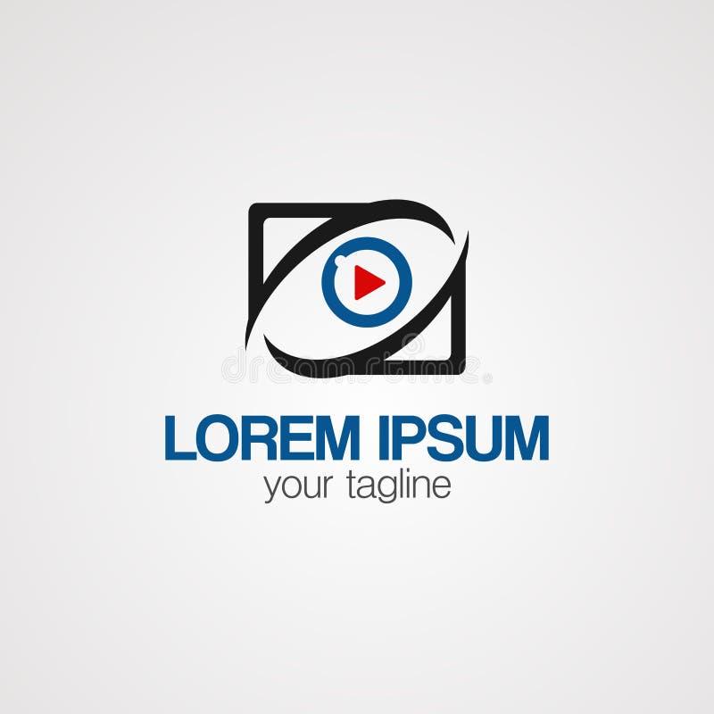Digitaler Logovektor, -ikone, -element und -schablone des Spielauges für Firma vektor abbildung