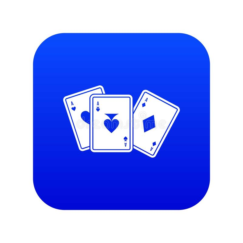 Digitales Blau der Spielkarteikone stock abbildung