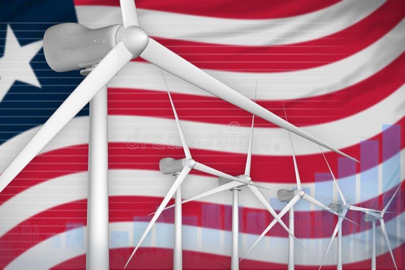 Digitales Diagrammkonzept der Liberia-Windenergie-Energie - alternative industrielle Illustration der natürlichen Energie Abbildu vektor abbildung