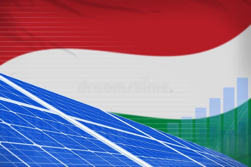 Digitales Diagrammkonzept der Ungarn-Solarenergieenergie - alternative industrielle Illustration der natürlichen Energie Abbildun lizenzfreie abbildung