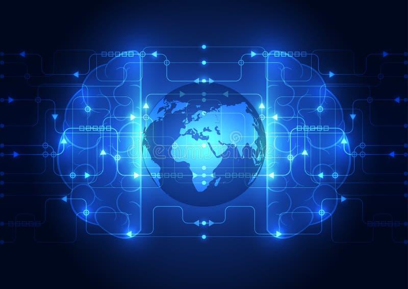 Digitales Gehirn des abstrakten Stromkreises, globaler Technologiekonzeptvektor lizenzfreie abbildung