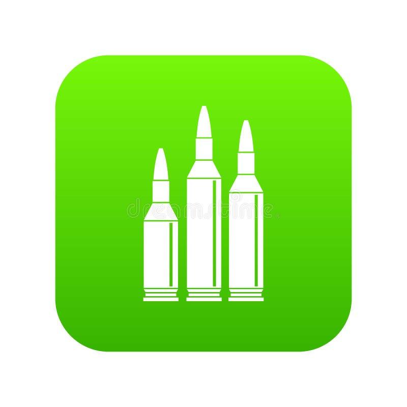 Digitales Grün der Kugelmunitions-Ikone lizenzfreie abbildung