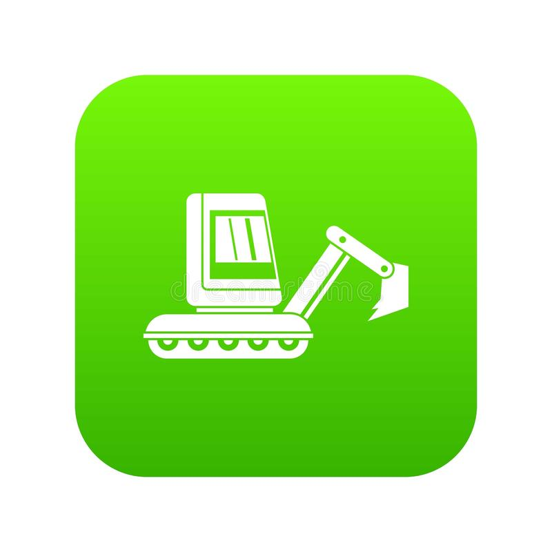 Digitales Grün der Minibaggerikone stock abbildung