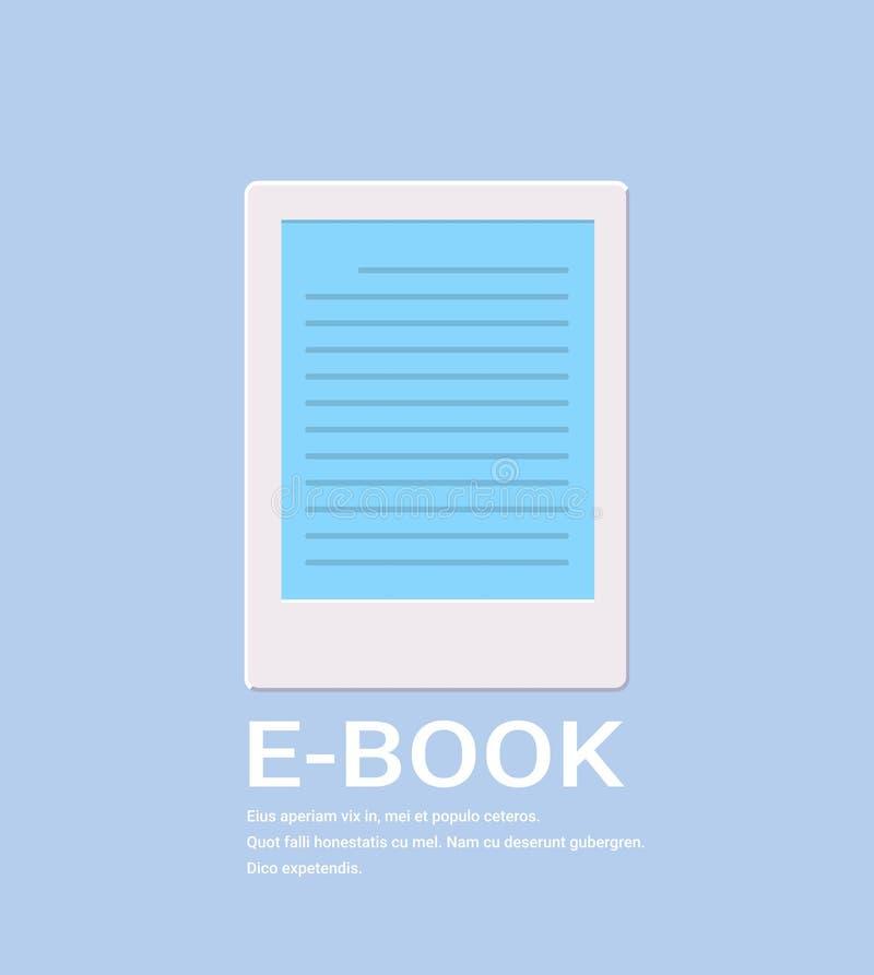 Digitales Internet Konzeptes ebook Lesung der elektronischen Buchikone, das flache Vertikale der eBook Bibliotheks-on-line-Inform stock abbildung