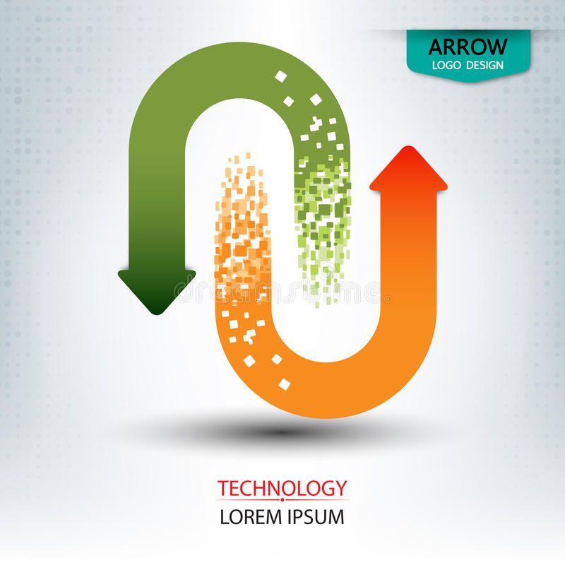 Digitales Logodesign des Pfeiles lizenzfreie abbildung