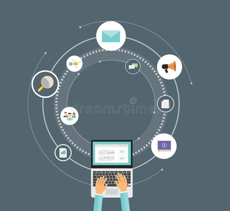 Digitales Marketing-Konzept des flachen Vektortechnologiegeschäfts lizenzfreie abbildung