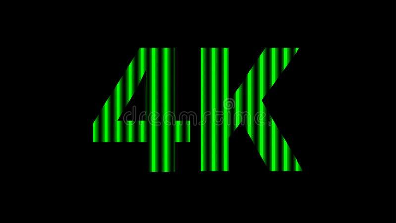digitales Neon des Alphabetes 4k hellgrün auf schwarzem, hochauflösendem 4k für modernen Hintergrund, Entschließung 4k des Techno stockbilder