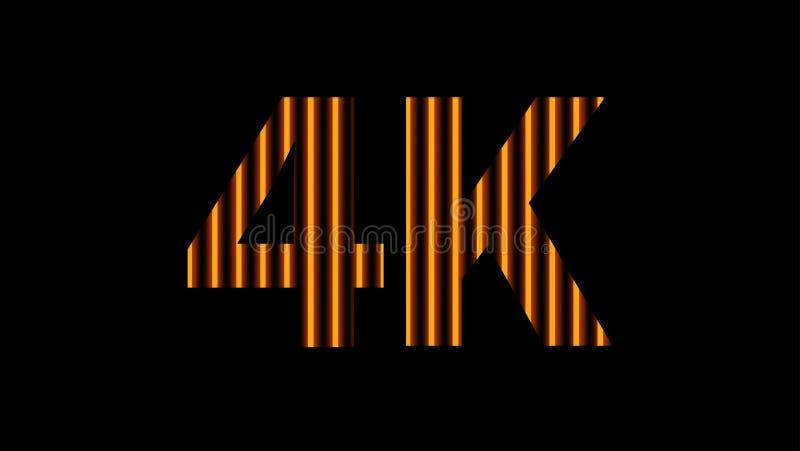 digitales Neonlicht des Alphabetes 4k golden auf schwarzem, hochauflösendem 4k für modernen Hintergrund, Entschließung 4k des Tec stockbild