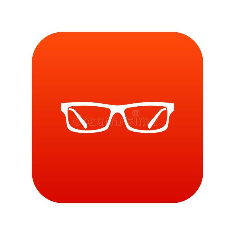 Digitales Rot der Augenglas-Ikone lizenzfreie abbildung