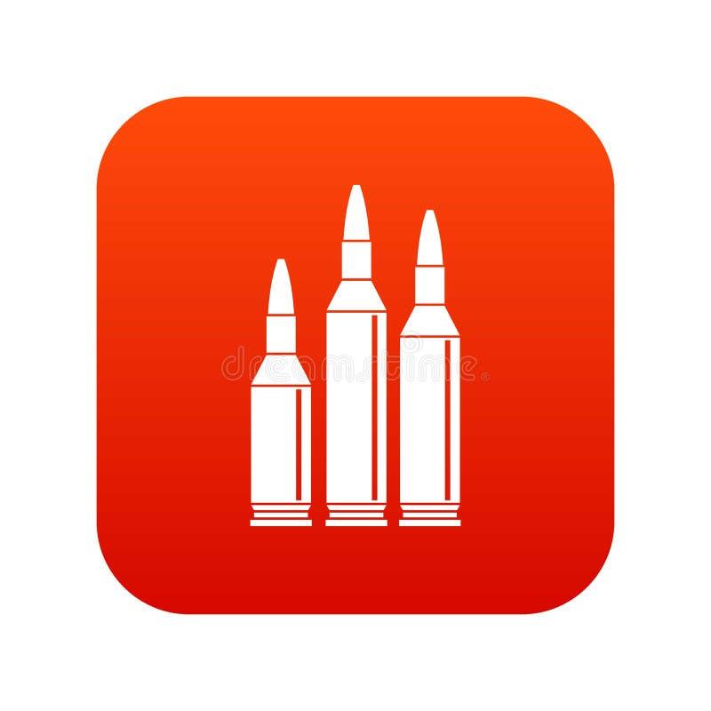 Digitales Rot der Kugelmunitions-Ikone stock abbildung