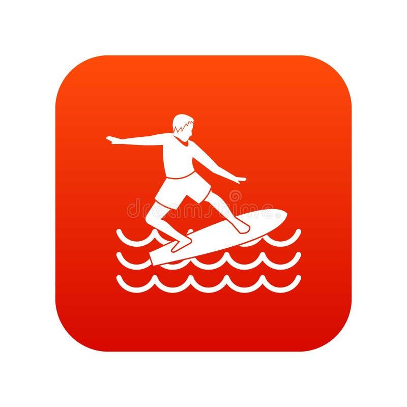 Digitales Rot der Surferikone lizenzfreie abbildung