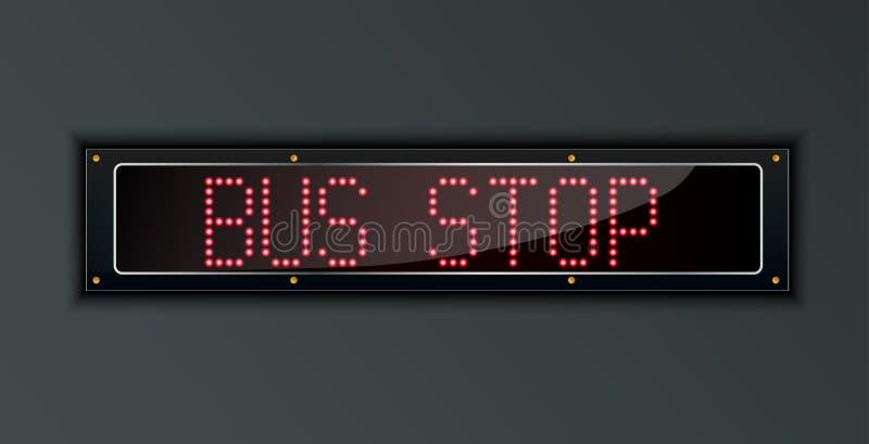 Digitales Zeichen der Bushaltestelle-LED vektor abbildung