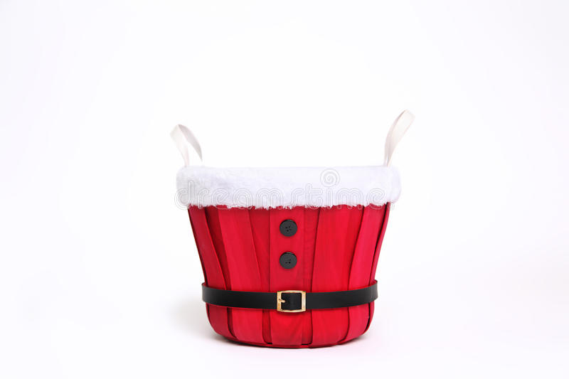 Digitalfotografie-Hintergrund roten Santa Christmas Bucket Isolated On-Weiß stockfoto