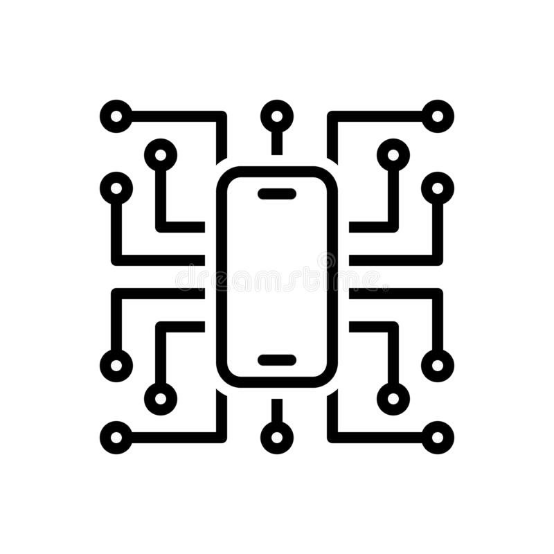 Black line icon for Digitalisation, technology and software royalty free illustration