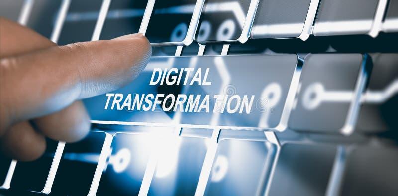 Digitalização, conceito da transformação de Digitas ilustração stock
