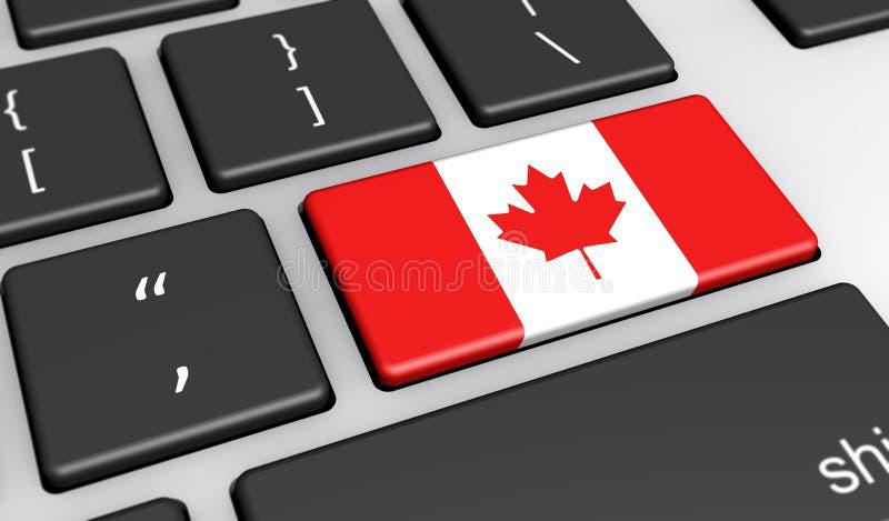 Digitalização de Canadá e conceito da rede informática ilustração royalty free