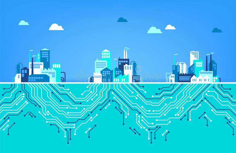 Digitalizaci pojęcie IOT, cyfrowa transformacja/- ilustracja ilustracja wektor
