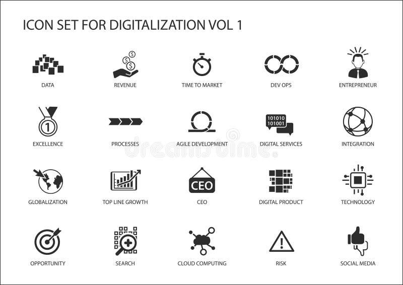 Digitalization icon set for topics like agile development, dev ops, globalization, opportunity, cloud computing, search, en vector illustration