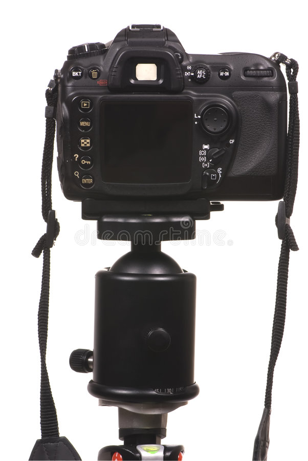 Digitalkamera DSLR auf Stativ stockbild