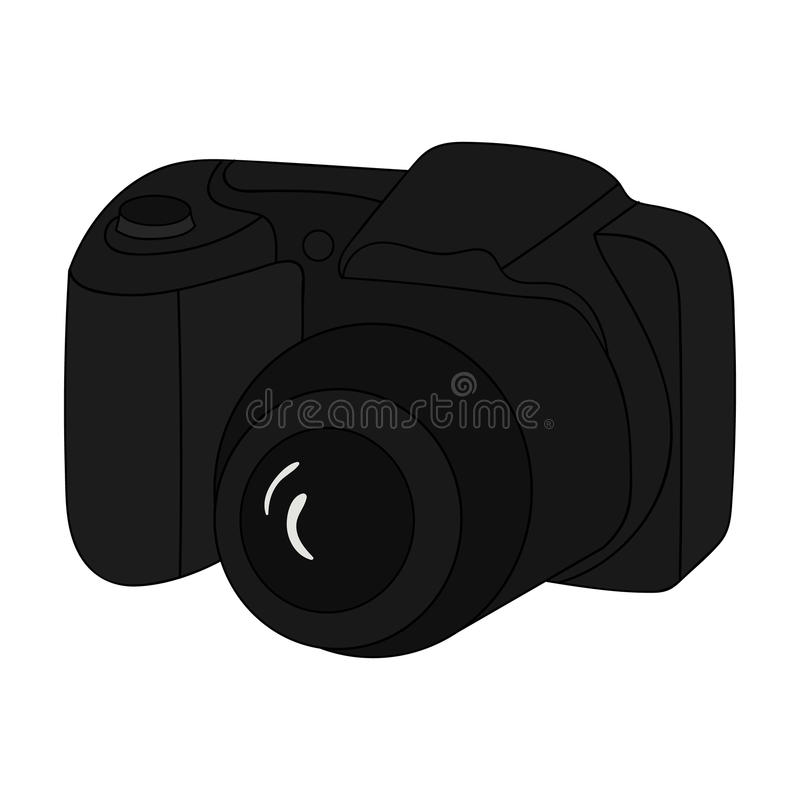 Digitalkameraikone in der Karikaturart auf weißem Hintergrund Familienurlaubsymbolvorrat-Vektorillustration lizenzfreie abbildung