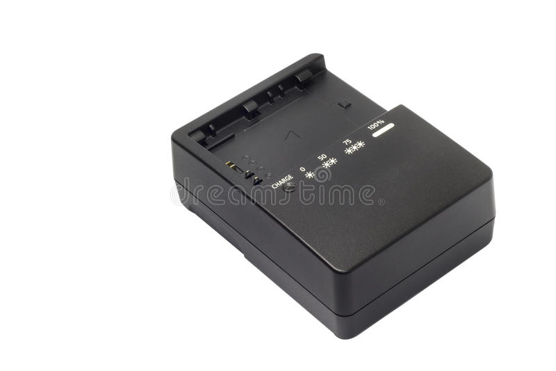 DigitalkameraLadegerät ohne Marke lokalisiert auf weißem Hintergrund lizenzfreies stockbild