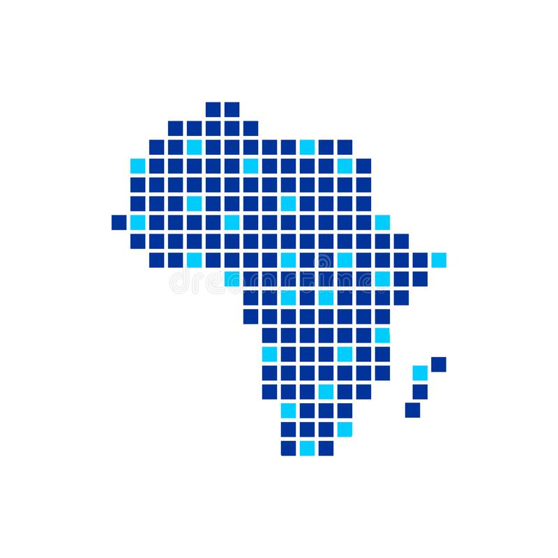Digitally Africa Blue Colour Pixels Symbol Design. Digitally Africa Blue Colour Pixels Vector Symbol Graphic Logo Design Template royalty free illustration