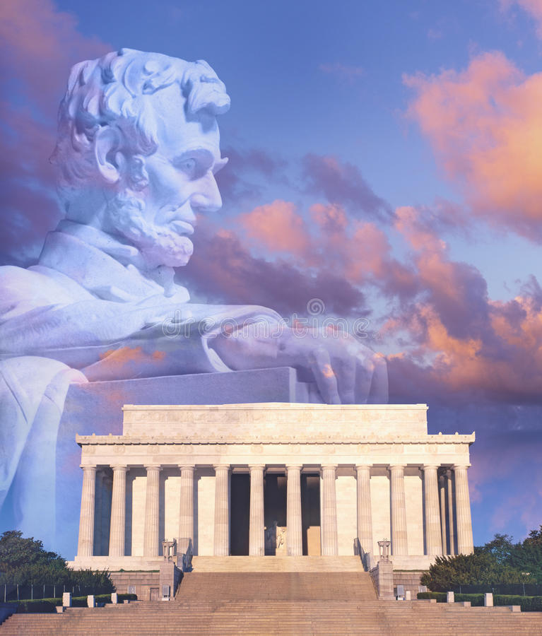 Digitally altered composite view of the Lincoln Memorial, statue of Abraham Lincoln and American flag royalty free stock photo