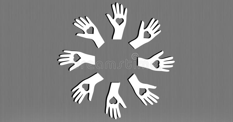 Digitally composite image of hands forming a circle royalty free illustration