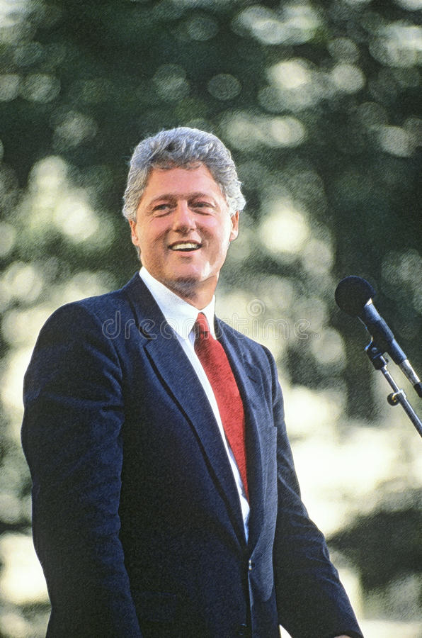 Digitally enhanced image of Governor Bill Clinton speaking in Ohio during the Clinton/Gore 1992 Buscapade campaign tour in. Cleveland, Ohio stock photos