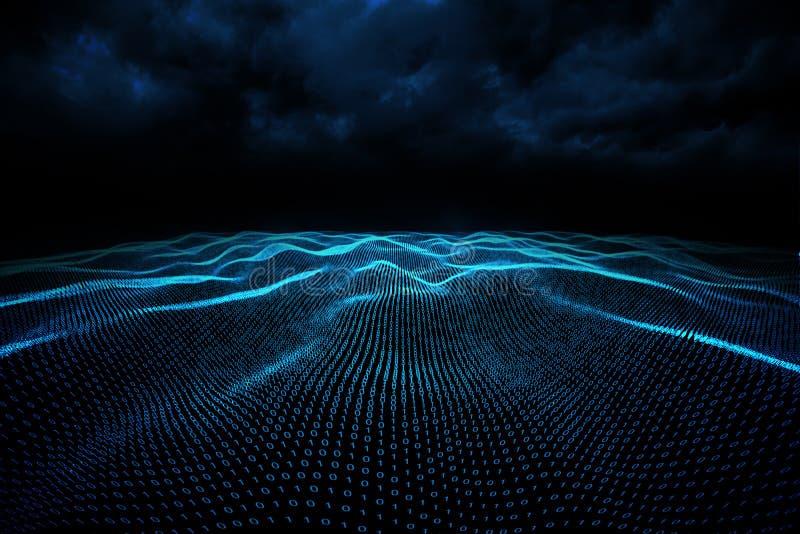 Digitally generated binary code landscape. On black background vector illustration