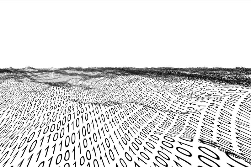 Digitally generated binary code landscape. On white background vector illustration