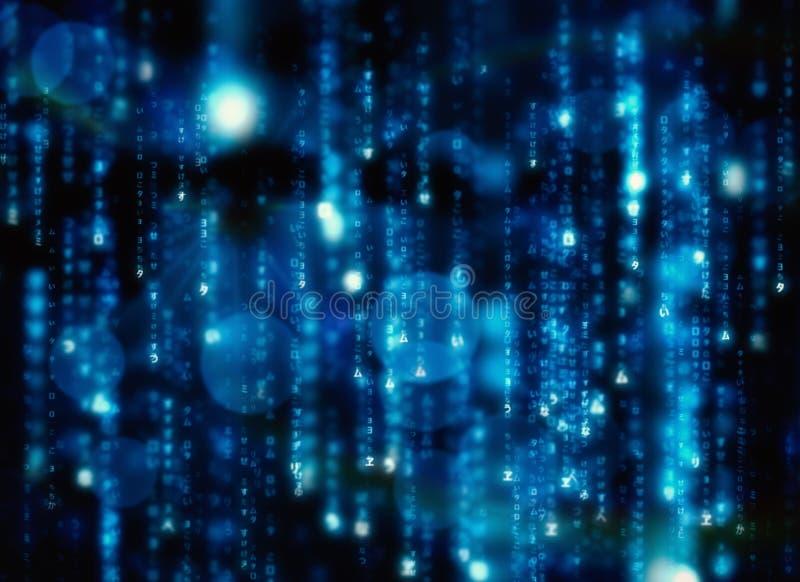 Digitally generated black and blue matrix. Design stock illustration