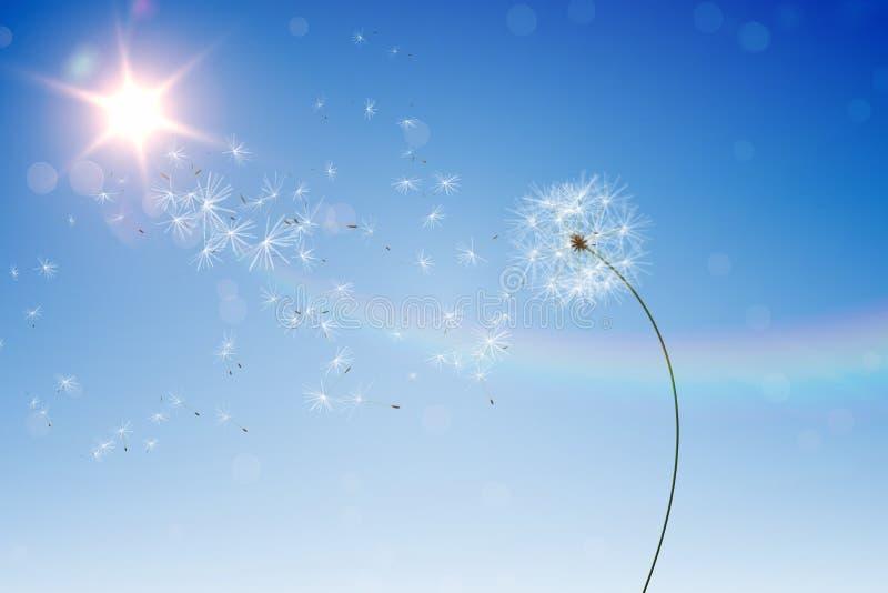 Digitally generated dandelions against blue sky. Digitally generated dandelions against sunny blue sky royalty free illustration