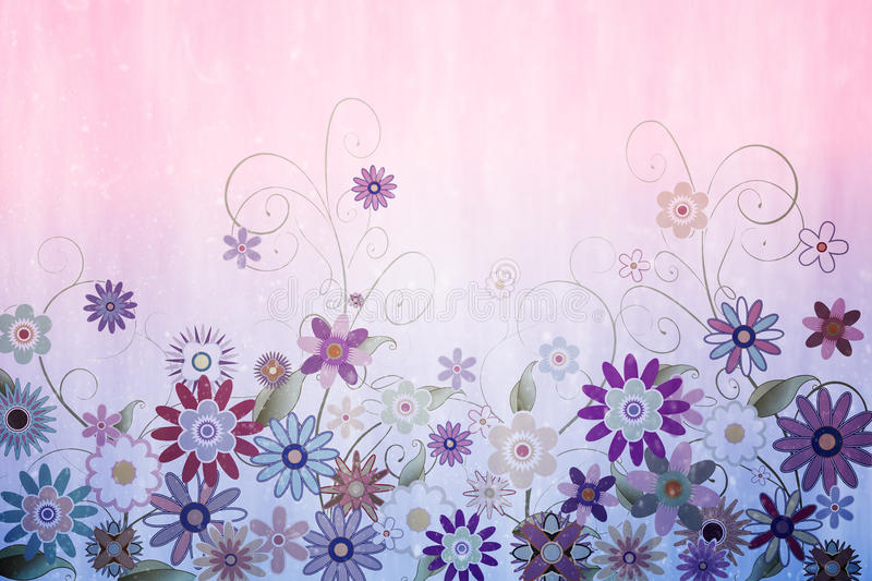 Digitally generated girly floral design. In pink stock illustration