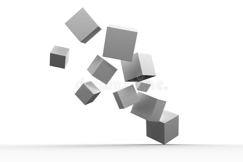Digitally generated grey cubes floating. On white background royalty free illustration