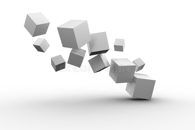 Digitally generated grey cubes floating. On white background stock illustration