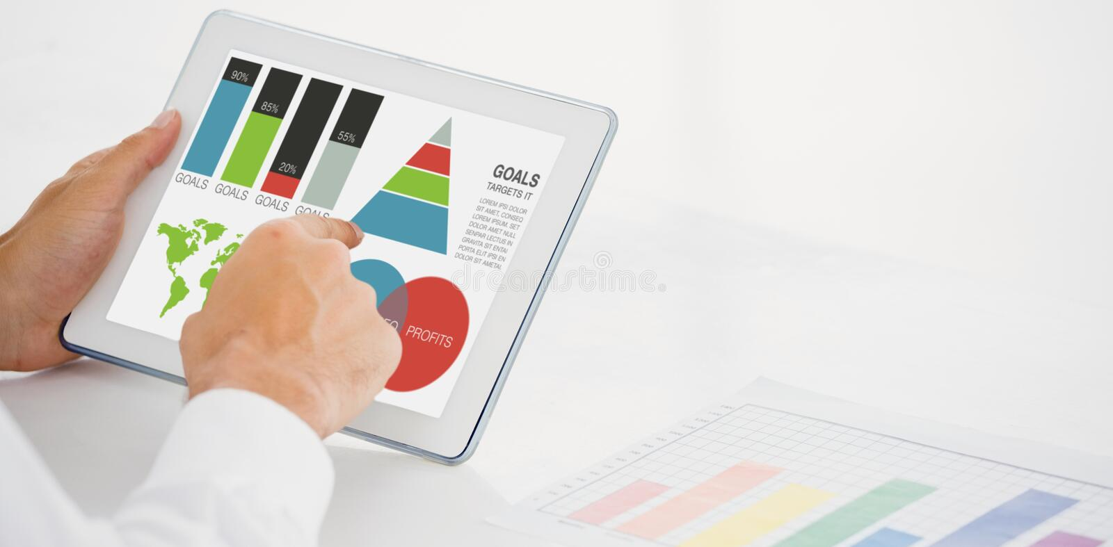 Composite image of digitally generated image of business presentation with charts and map. Digitally generated image of business presentation with charts and map stock illustration