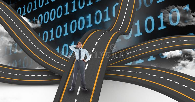 Digitally generated image of businessman on wavy road against binary numbers stock illustration