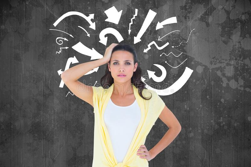 Digitally generated image of confused woman with arrows against black background. Digital composite of Digitally generated image of confused woman with arrows vector illustration