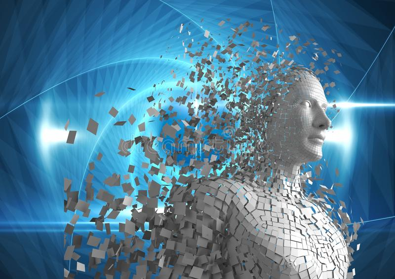 Digitally generated image of 3d human over blue background. Digital composite of Digitally generated image of 3d human over blue background vector illustration
