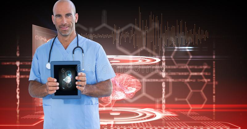 Digitally generated image of male doctor showing digital tablet against tech graphics stock photography