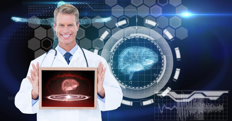 Digitally generated image of male doctor showing digital tablet against tech graphics stock images