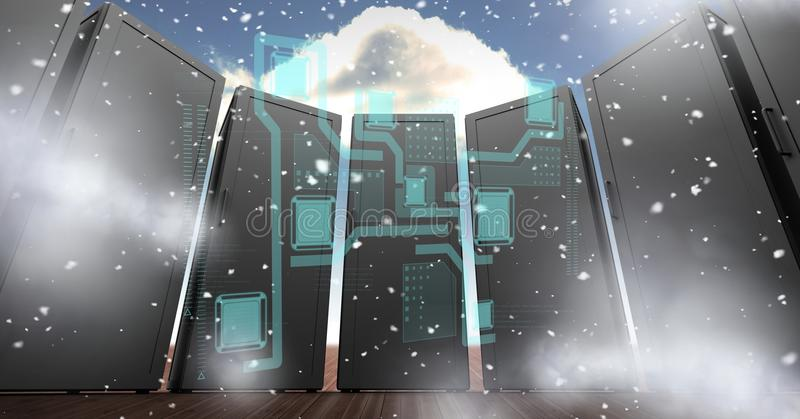 Digitally generated image of servers with various icons in sky stock illustration