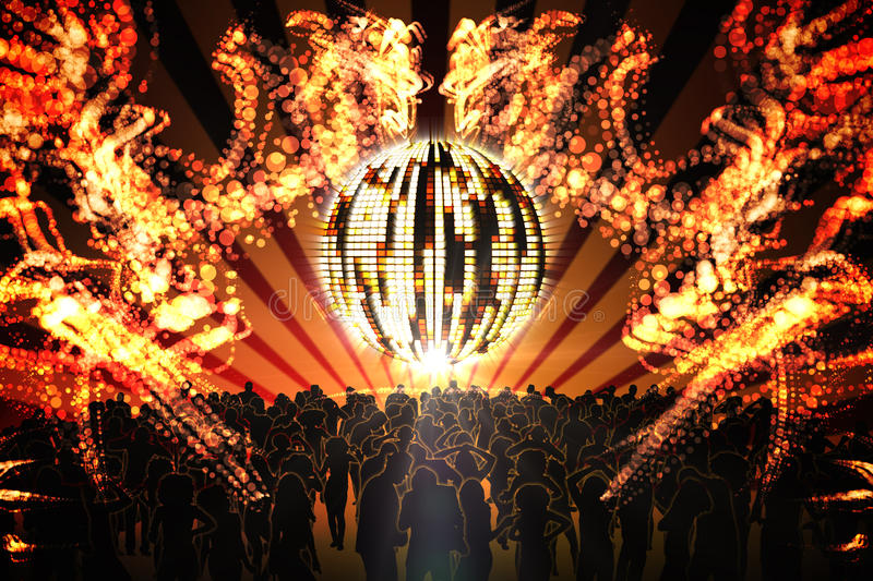 Digitally generated nightclub. With disco ball and people dancing vector illustration