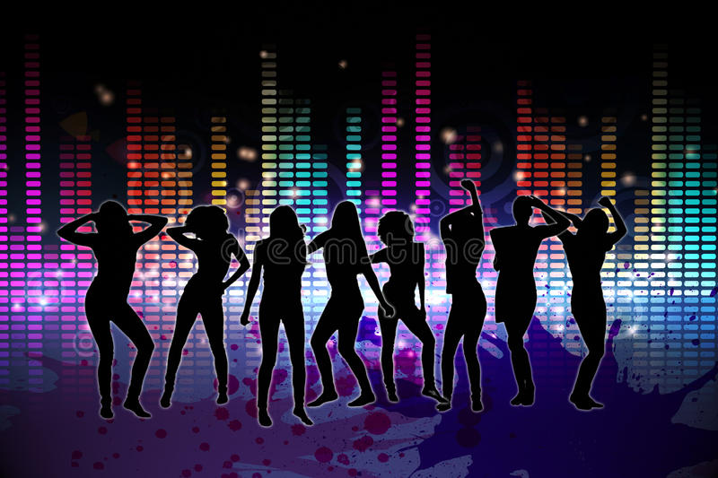 Digitally generated nightlife background. With people dancing vector illustration