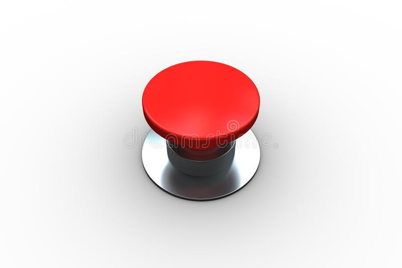 Digitally generated red push button. On white background vector illustration